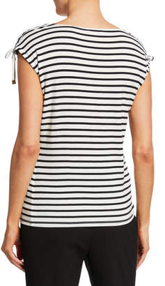 Iconic American Designer Tie-Shoulder Striped Top