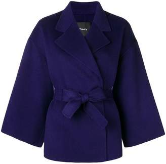 Theory belted wrap front jacket