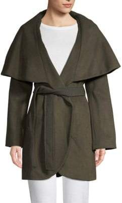 Tahari Marla Wool Blend Oversized Collar Wrap Coat
