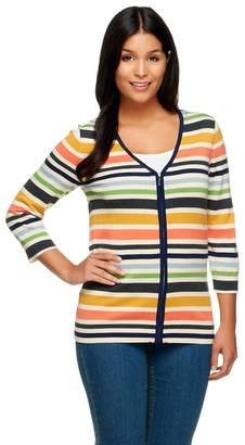 Liz Claiborne New York Multi-Stripe Zip Front Cardigan