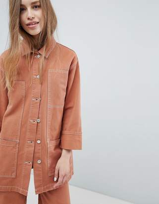 Pull&Bear co-ord denim jacket in terracota