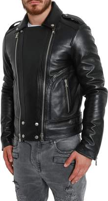 Balmain Black Leather Padded Biker Jacket
