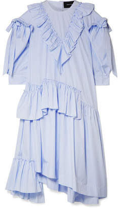 Simone Rocha Asymmetric Ruffled Striped Cotton-poplin Midi Dress - Sky blue