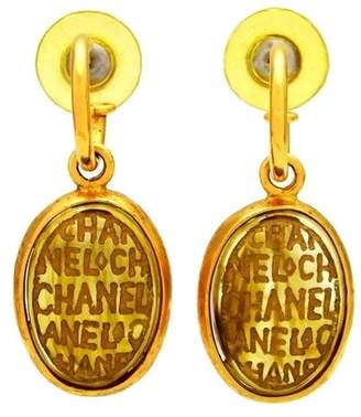 Chanel Logo Gold Tone Metal Glass Stone Dangle Stud Earrings
