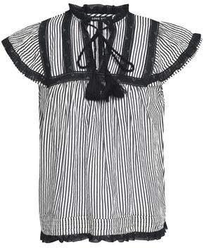 Love Sam Striped Cotton-Blend Top