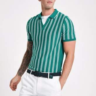 River Island Mens Green stripe slim fit knit polo shirt