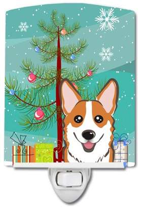 Corgi Caroline's Treasures Christmas Tree and Red Ceramic Night Light