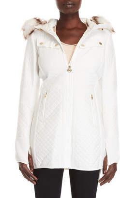 MICHAEL Michael Kors Faux Fur-Trimmed Mix Media Coat