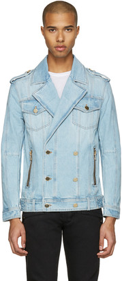 Balmain Blue Double-Breasted Denim Jacket $1,930 thestylecure.com