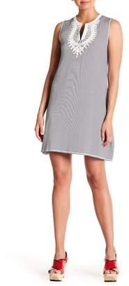 Max Studio Crochet Neckline Stripe Print Dress