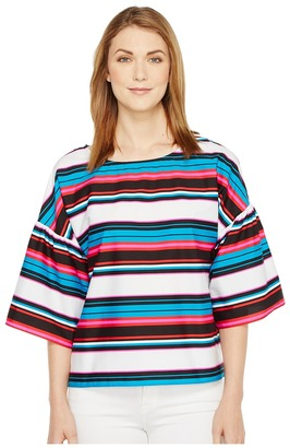 Vince Camuto - Drop Shoulder Ruffle Sleeve Del Rio Stripe Blouse Women's Blouse $89 thestylecure.com