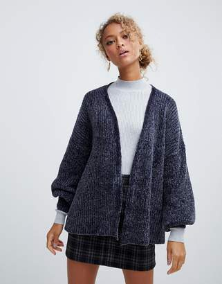 New Look chenille cardigan in gray pattern