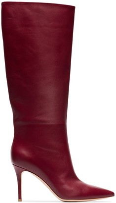 Gianvito Rossi burgundy Suzan 85 leather slouch boots