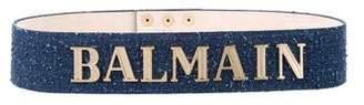 Balmain 2018 Denim Logo Belt w/ Tags