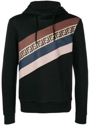 Fendi panelled stripe drawstring hoodie