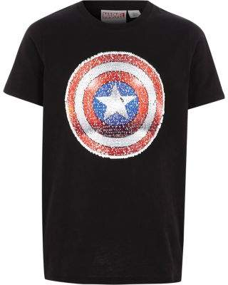 River Island Boys black Captain America sequin T-shirt