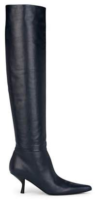 The Row Women's Bourgeoise Leather Knee Boots - Navy