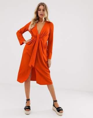Asos Design DESIGN casual textured midi dress with knot waist