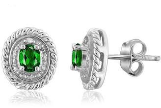 FINE JEWELRY Diamond Accent Green Chrome Diopside Sterling Silver 8.8mm Stud Earrings