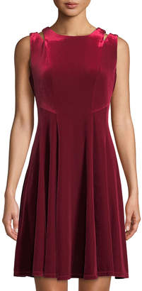 Gabby Skye Cutout Velvet A-Line Dress