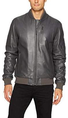 Bugatchi Men's Classic Fit Leather Bomber Jacket