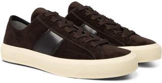 Tom Ford Cambridge Leather-Trimmed Velvet Sneakers
