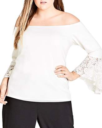 City Chic Plus Lace Cuff Bell Sleeve Top