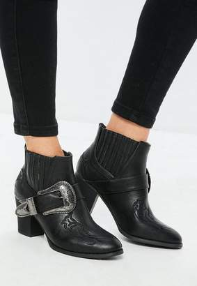 Missguided Black Large Buckle Western Chelsea Boots