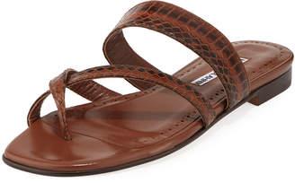 Manolo Blahnik Susa Strappy Snakeskin Slide Sandals