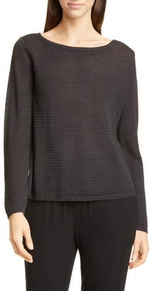 Eileen Fisher Bateau Neck Organic Linen & Cotton Sweater