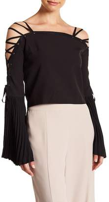 Gracia Pleated & Lace-Up Sleeve Blouse