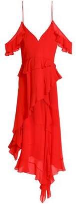 Nicholas Cold-shoulder Asymmetric Ruffled Silk-chiffon Midi Dress
