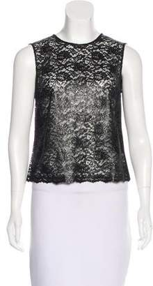 Saint Laurent Lace-Paneled Sleeveless Top