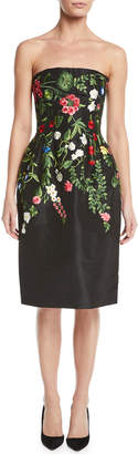 Oscar de la Renta Strapless Botanical-Embroidered Two-Pocket Cocktail Dress