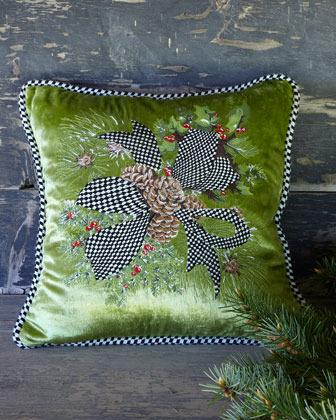 Mackenzie Childs MacKenzie-Childs Green Evergreen Pillow
