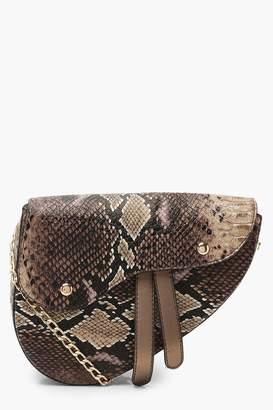 boohoo Snake Wave Flap Saddle Cross Body Bag