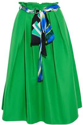 Emilio Pucci Belted Pleated Cotton And Silk-Blend Midi Skirt