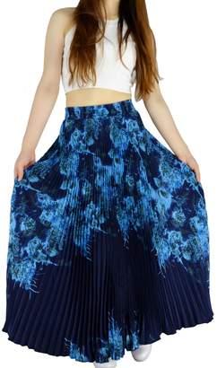 "YSJ Womens Pleated Long Maxi Skirt - 35.4"" Chiffon Floral Vintage Bohemian Full Skirts 1537"