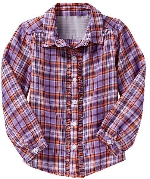Gap Ruffle-trim plaid shirt