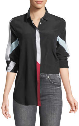 Equipment Long-Sleeve Button-Front Colorblocked Silk Shirt