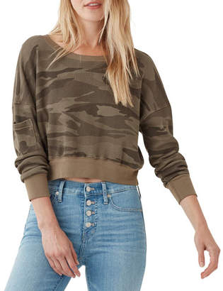 Splendid Thermal Academy Cropped Pullover Sweatshirt