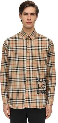 Burberry Printed Check Cotton Canvas Shirt