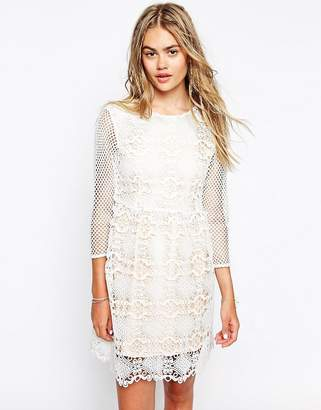 Little White Lies Cutwork Lace Dress With Mesh Sleeves