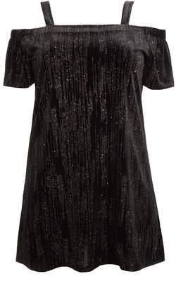 Quiz Curve Black Glitter Velvet Cold Shoulder Tunic Dress