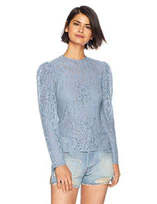 Keepsake The Label Women's All Night Crew Neck Long Sleeve Lace Top