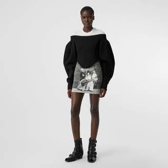 Burberry Victorian Portrait Print Stretch Denim Mini Skirt
