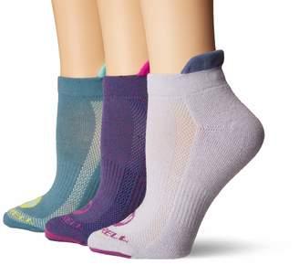 Merrell Women's 3 Pack Cushioned Performance Hiker Socks (Low Cut/Tab/Crew) Aqua Marl (Low Cut Tab) Shoe Size: 4-9.5