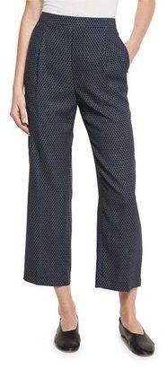 Vince Printed Silk-Blend Lounge Pants, Coastal/Shark $365 thestylecure.com
