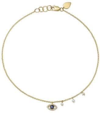 Meira T 14K White & Yellow Gold Sapphire, Diamond & Cultured Freshwater Pearl Evil Eye Ankle Bracelet