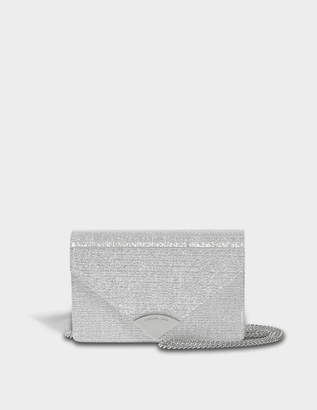 MICHAEL Michael Kors Barbara Medium Envelope Clutch Bag in Silver Metallic Leather